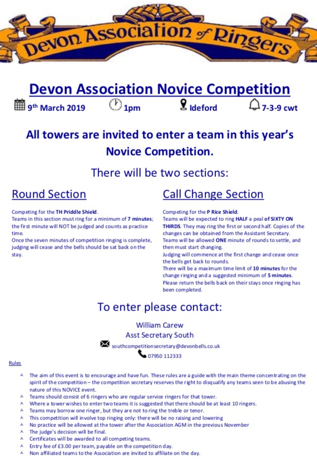 Results from the Devon Association Novice held at Ideford on the 9th March 2019